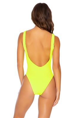 Neon Ribbed Over The Shoulder One Piece Swimsuit