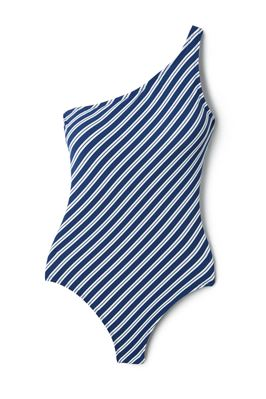 Striped Asymmetrical One Piece Swimsuit