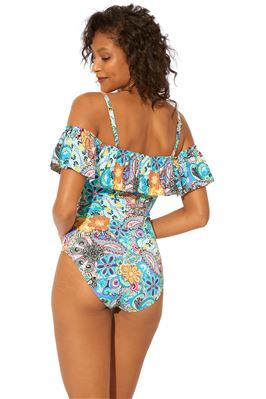 Ruffle Off Shoulder One Piece Swimsuit