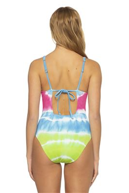 Tie Dye Plunge One Piece Swimsuit