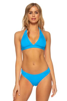 Pleated Banded Halter Bikini Top