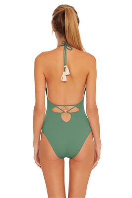 Cross Front Plunge Halter Maillot One Piece Swimsuit