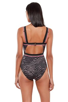 Zebra Cut Out One Piece Swimsuit